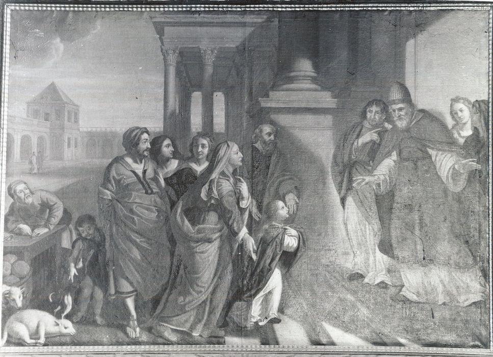Tableau et son cadre : Présentation de Marie au temple accueillie par les docteurs