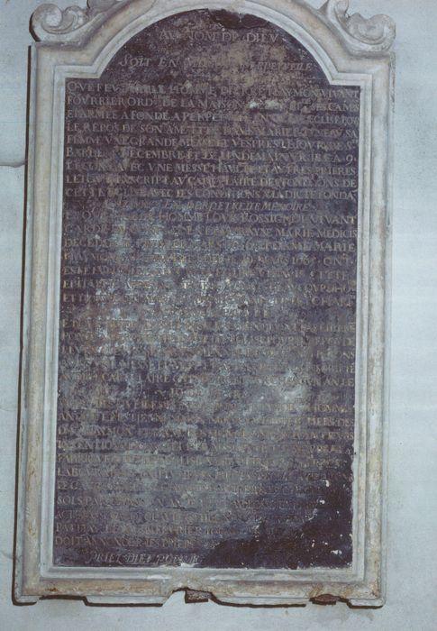 Plaque commémorative de fondation de messes