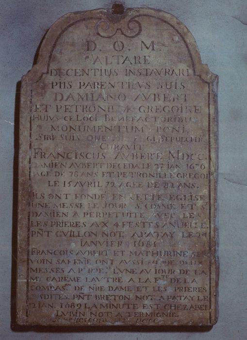 plaque commémorative de fondation de messes par Damien et François Aubert