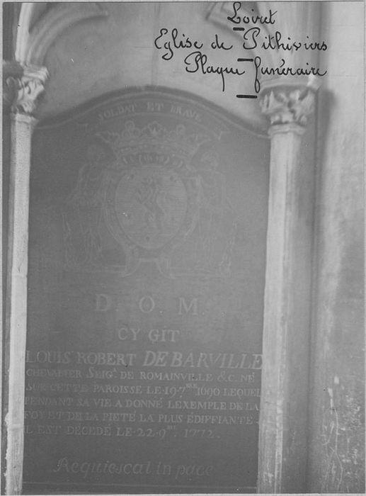 Plaque funéraire de Louis Robert de Barville, seigneur de Romainville