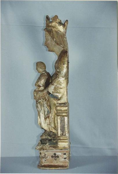 Statue : Vierge à l'Enfant, profil droit, vue générale