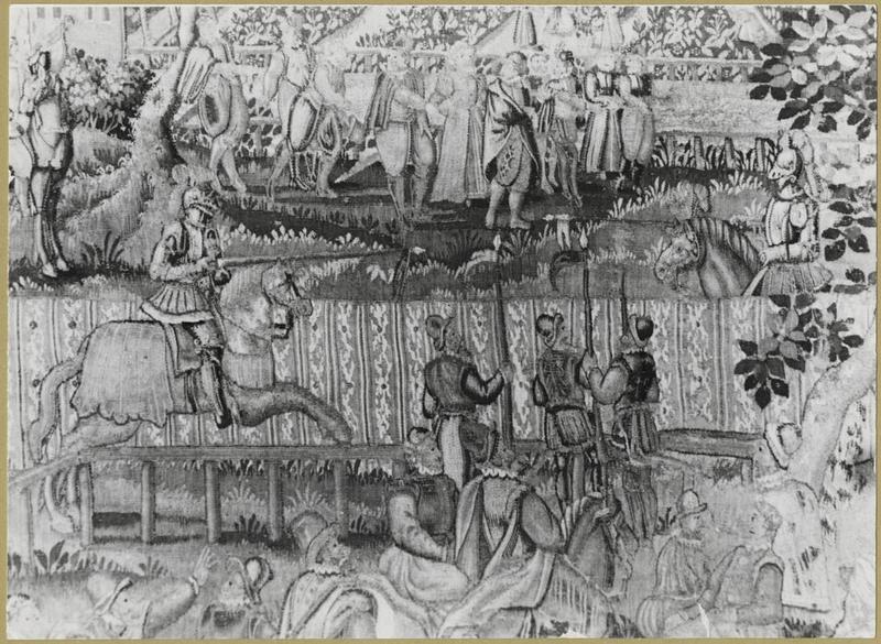 Pièce murale (tapisserie au point) : Scène de tournoi