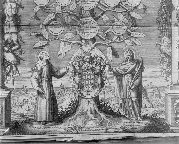 Gravure, arbre généalogique, détail de la base