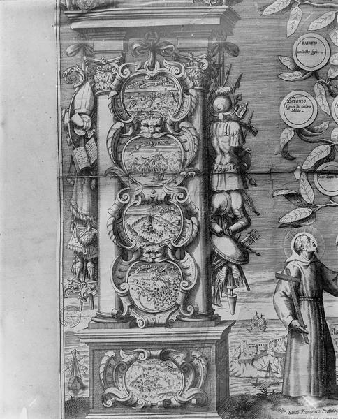 Gravure, arbre généalogique, détail