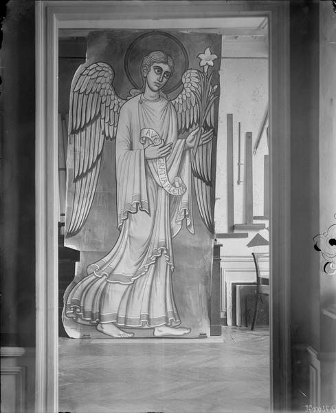 Dessin, ange tenant une fleur de lys, phylactère