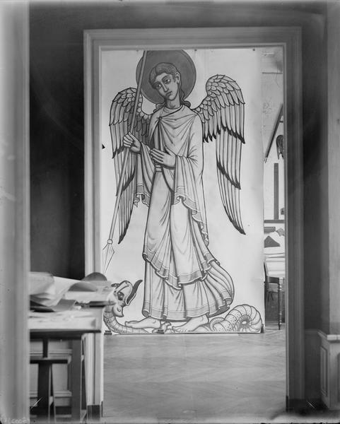 Dessin, saint Michel terrassant le dragon