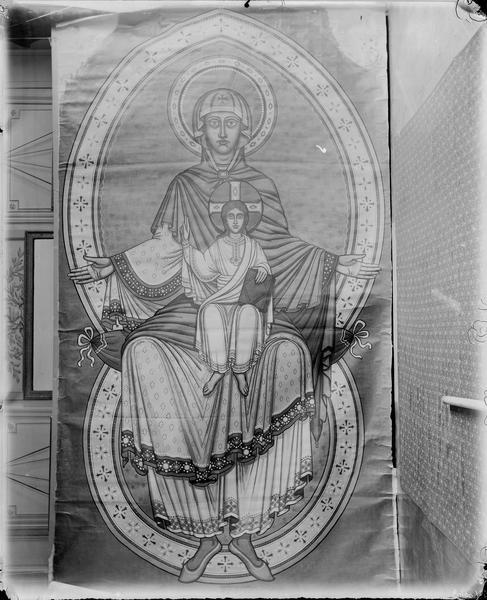 Choeur, mosaïque de la coupole, détail, Vierge à l'Enfant en Gloire