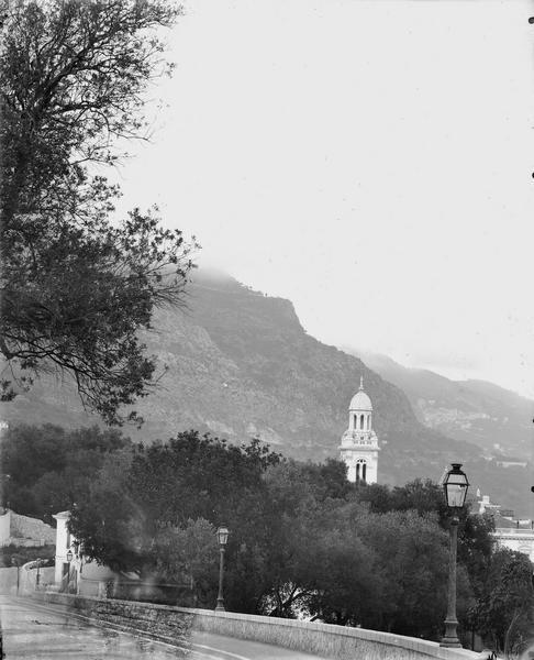 Vue d'ensemble de la ville dont le clocher de l'église Saint-Charles