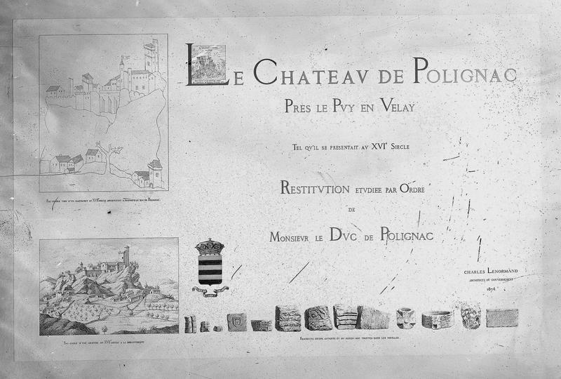 Planche titre d'un imprimé, Restitution étudiée par ordre de monsieur le Duc de Polignac