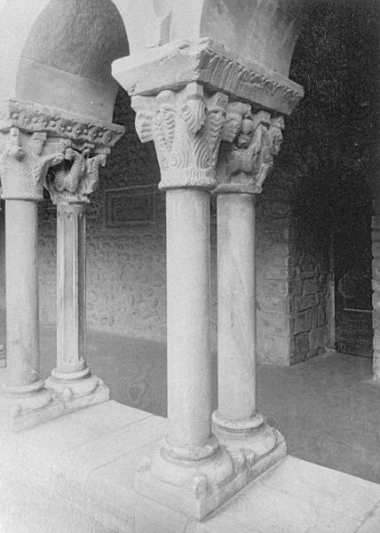 Cloître, intérieur : galerie ouest, troisième travée depuis le nord, deux colonnes géminées à chapiteaux sculptés