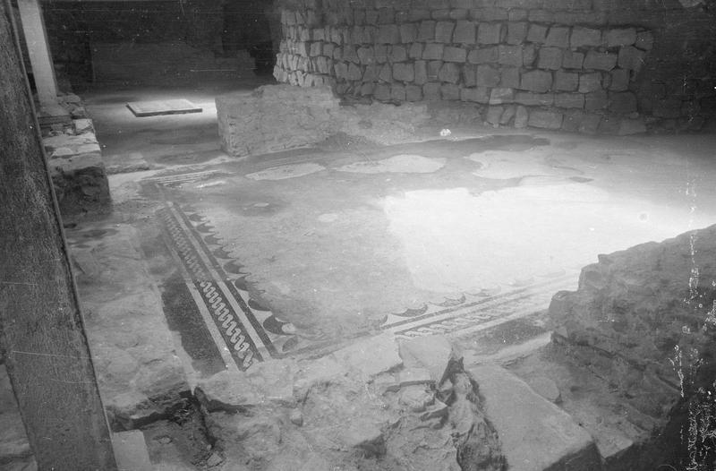 Château comtal, intérieur : sous-sol de la première salle, mosaïque gallo-romaine