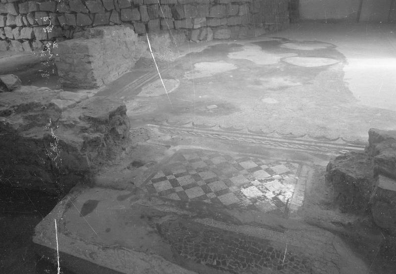 Château comtal, intérieur : sous-sol de la première salle, détail de la mosaïque gallo-romaine