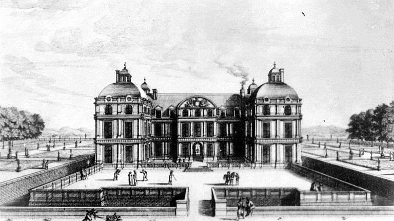 Gravure représentant l'ensemble du château, façade principale