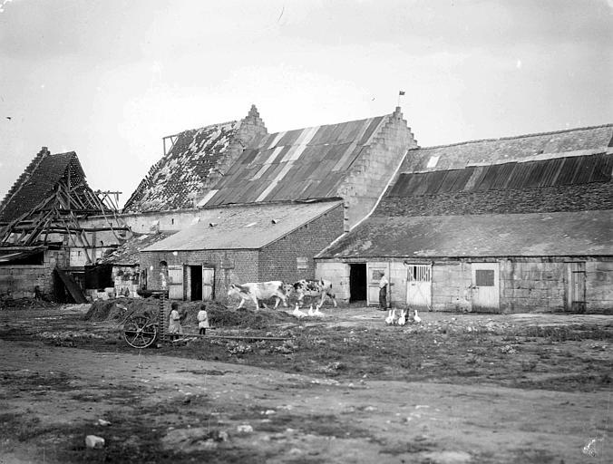 Destructions prises depuis la cour, animaux de ferme, fermier et enfants