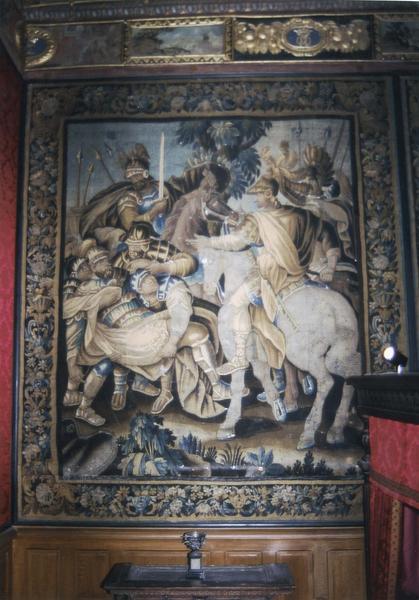Pièce murale de la tenture des batailles d'Alexandre : Alexandre et Porus, vue générale