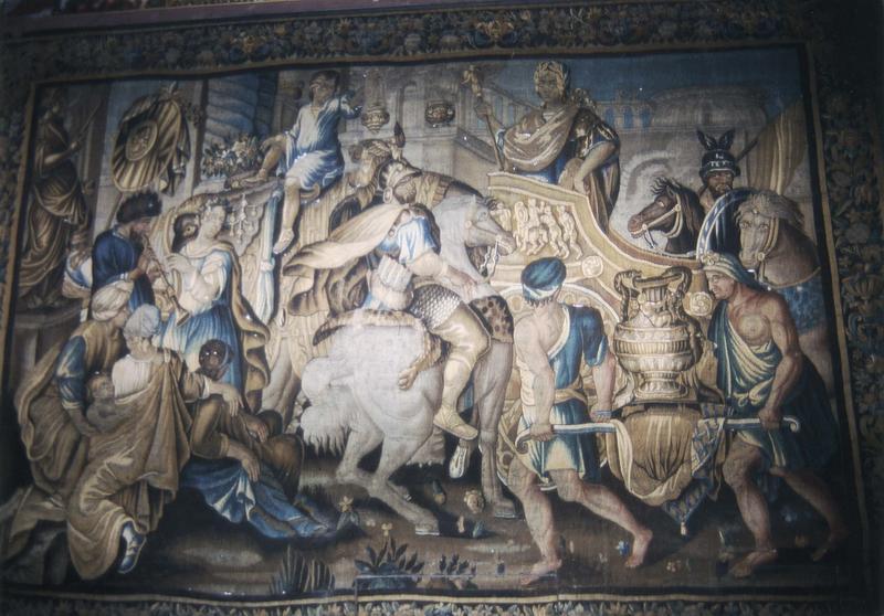 Pièce murale de la tenture des batailles d'Alexandre : Le Triomphe d'Alexandre, vue générale