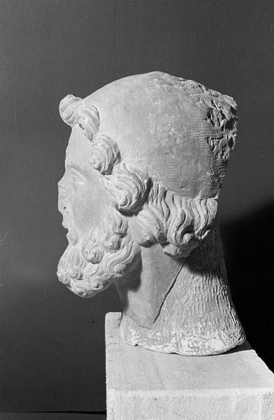 Statue en pierre de Romain, fragment : tête d'homme barbu, profil gauche