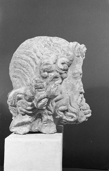 Statue en pierre de Romain, fragment : tête d'homme barbu, profil droit