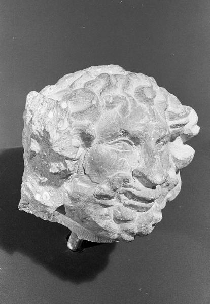 Statue en pierre de Romain, fragment : tête d'homme barbu grimaçant, de trois quarts droit