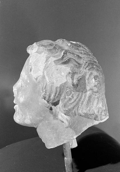 Statue en pierre de Courville, fragment : tête d'ange, profil gauche
