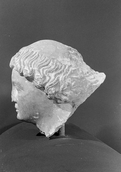 Statue en pierre de Courville, fragment : tête de jeune homme avec tonsure, profil gauche