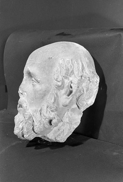 Statue en pierre de Courville, fragment : tête de saint Paul (supposé), profil gauche
