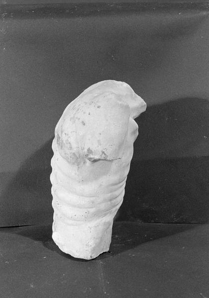 Statue en marbre blanc, fragment : torse d'homme décharné, profil droit