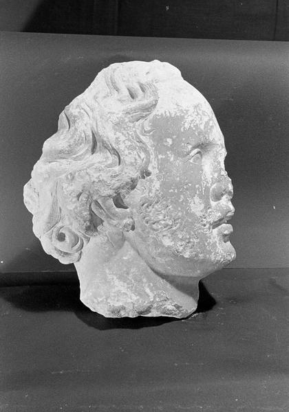 Statue en pierre de Courville, fragment : tête d'homme, profil droit