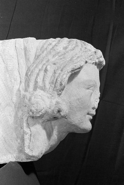 Corbeau en pierre de Courville : tête, profil droit