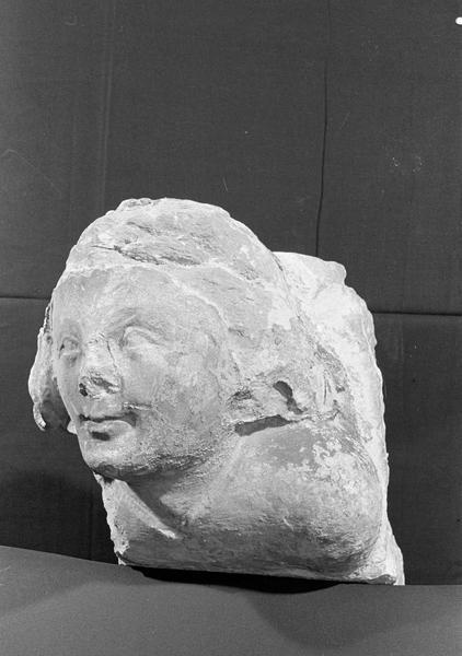 Corbeau en pierre de Courville : tête, de trois quarts gauche