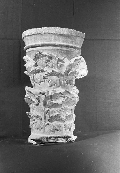 Chapiteau en pierre de Courville orné de feuillage