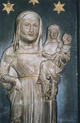 Haut-relief : Sainte Anne portant la Vierge et l'Enfant, détail des visages