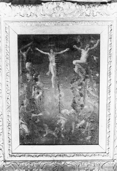 Tableau (panneau peint) : La Crucifixion, cadre