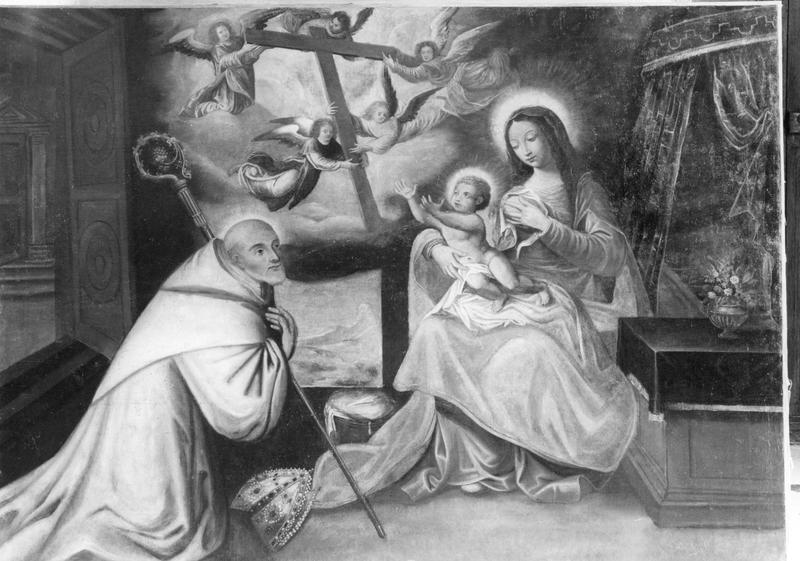 Tableau : Vierge à l'Enfant vénérée par saint Bernard