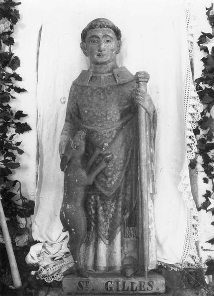 groupe sculpté : Saint Gilles et sa biche, vue générale