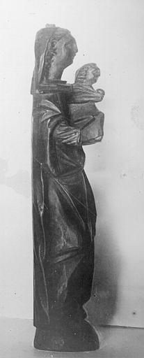 Statue rapportée de Palestine en bois : Vierge à l'Enfant (profil)