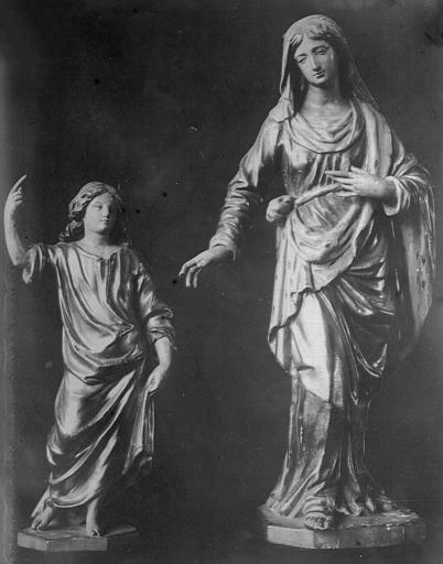 Groupe sculpté en bois doré et polychrome : Le Cinquième Mystère joyeux
