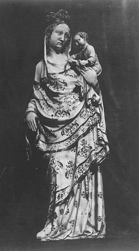 Statue en marbre : Vierge à l'Enfant