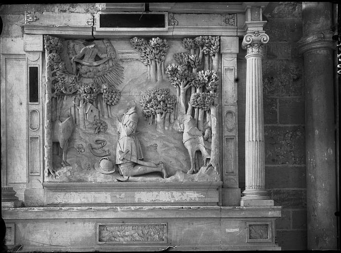 Retable, bas-relief : La Chasse de saint Hubert
