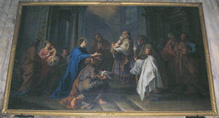 Tableau : la Présentation de Jésus au Temple, huile sur toile