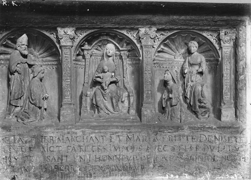 Monument funéraire : Vierge à l'Enfant et quatre personnages présentés par leurs saints patrons (La)