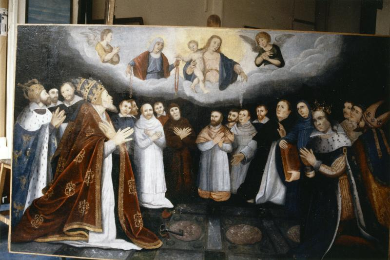 Tableau, cadre commémoratif de la fondation en 1616 d'une confrérie du Rosaire