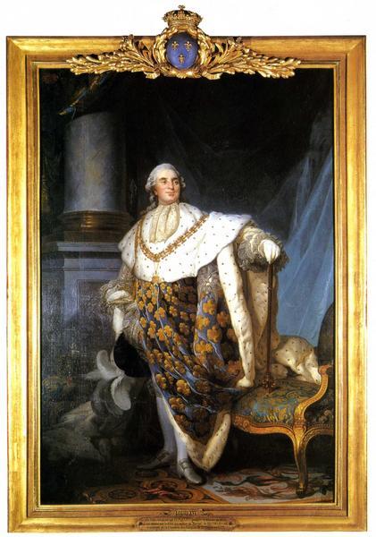 tableau et son cadre : portrait en pied de Louis XVI en costume de sacre