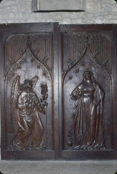 2 vantaux de la porte de la sacristie : l'Annonciation