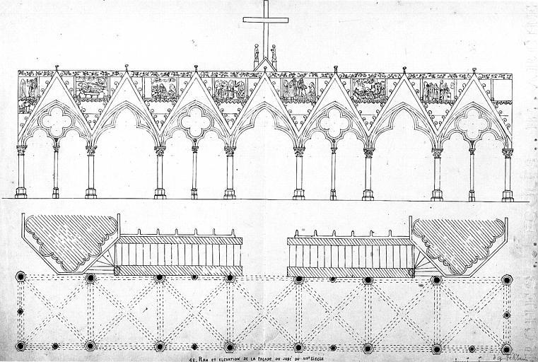 Plan et élévation du jubé démoli en 1763