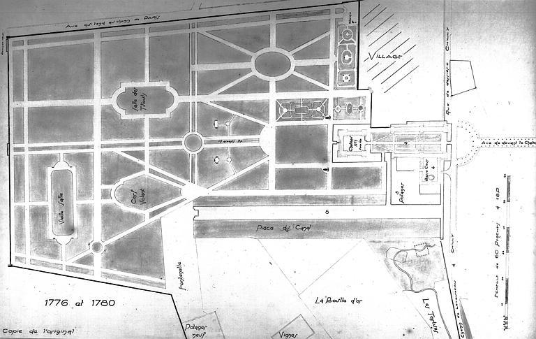 Plan du château et du parc, copie