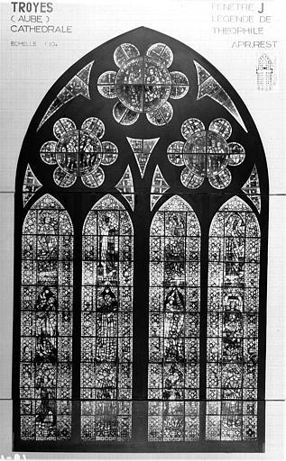 Photomontage de vitrail : baie J, Légende de Théophile, état après restauration