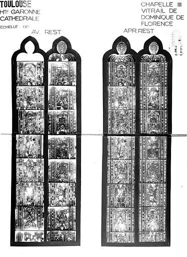 Photomontage de vitrail : baie chapelle VIII, saint Dominique de Florence, état avant et après restauration