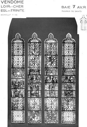Photomontage de vitrail : baie VII, figures de saints, état avant restauration
