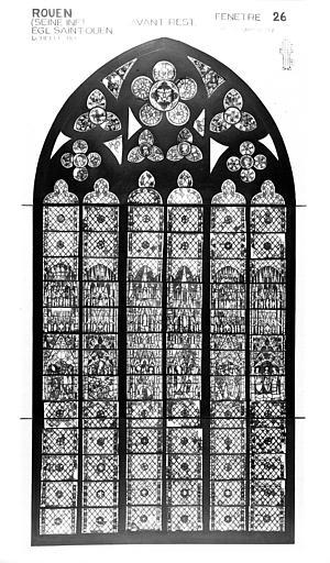 Photomontage de vitrail : baie 26, saint Nicaise, état avant restauration
